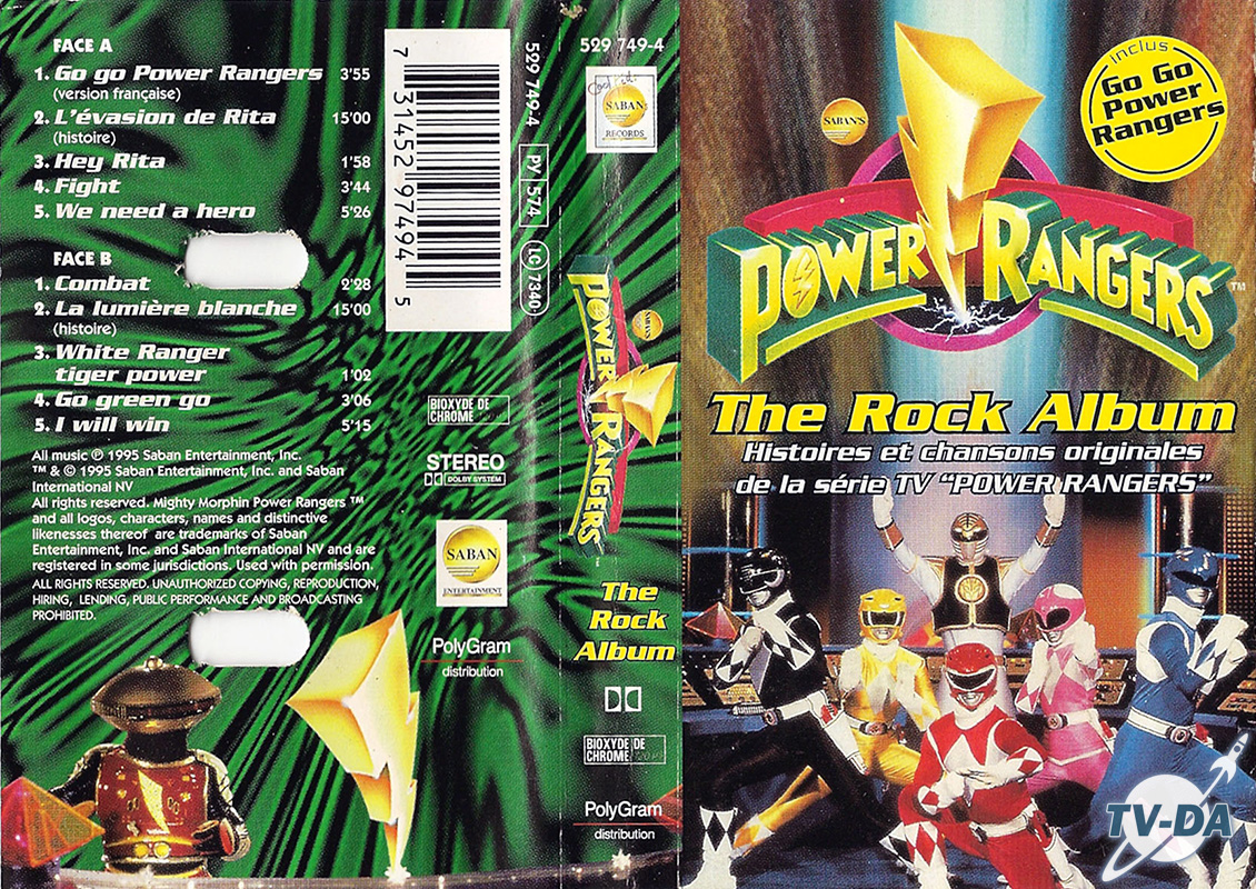 cassette audio power rangers rock album